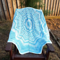 Crocheted 12 point star baby blanket - blue and white