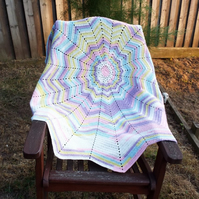 Crocheted 12 point star baby blanket - multi colour - unisex