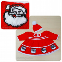 Baby girl Santa father christmas dress and hat  0 - 3 months
