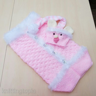 Hand knitted 'Little Pink Teddy' baby cocoon and hat - newborn - photo prop