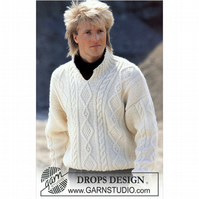 Hand knitted unisex mens womens aran style jumper sweater front neck opening