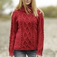 Hand knitted ladies womens mens jumper sweater roll neck, detail cable pattern