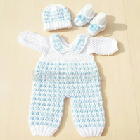 Hand knitted baby bobble romper hat and shoe set made to order 0 - 6 months