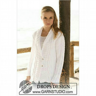 Hand knitted ladies aran jacket cardigan shawl collar XS - XXXl
