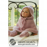 Hand knitted baby hooded poncho cape and booties 0 months - 4 years