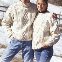 Hand knitted unisex jumper sweater aran style cable for men or women
