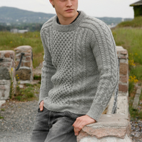 Hand knitted boys mens aran style jumper sweater 13yrs to mens XXXL 100% wool