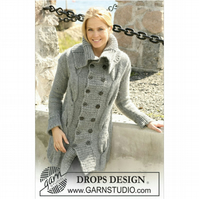Hand knitted ladies cardigan jacket chunky knit with large cables and collar