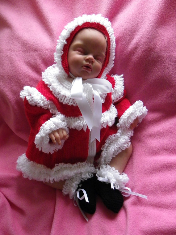Hand knitted Baby Christmas Santa cardigan, bonnet and booties Made To Order 0-3