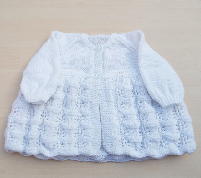 White cardigan hand knitted - girl's knitwear 24 inch chest
