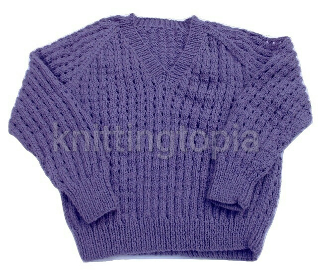 Hand knitted boys girls purple jumper to fit 26 inch chest
