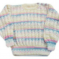 Hand knitted baby girls stripy jumper 2 - 3 years 26 inch chest