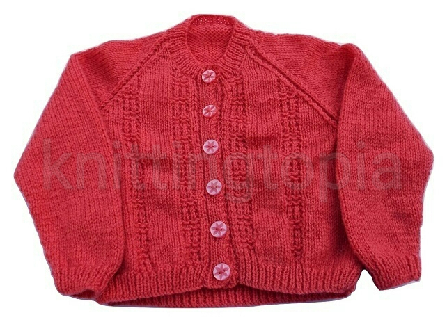 Hand knitted girls salmon cardigan to fit 24 inch chest