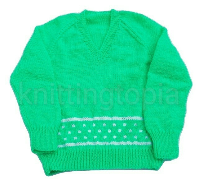 Hand knitted boys girls v neck jumper in bright green with white pattern 26 inch