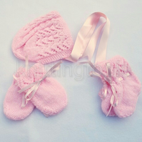 Hand knitted baby lace bonnet booties and mittens set 0 - 3 months pink