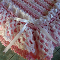 Hand crochet stripe baby blanket afghan - crocheted lacy ruffle edging - stripes