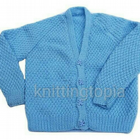 Hand knitted baby v neck cardigan knitted in blue 24 inch chest