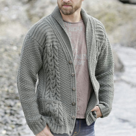 Hand knitted mens jacket cardigan aran style with front pockets S - XXXL