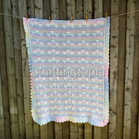 Hand knitted baby sweetheart shawl in pastel stripes