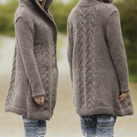 Hand knitted hooded ladies cardigan jacket S - XXXl