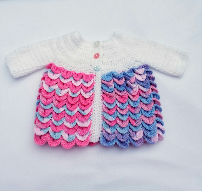 Hand crochet baby girl cardigan crocodile stitch pink white blue 0 - 3 months