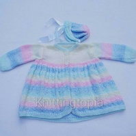 Hand knitted baby cardigan and bonnet - 3-6 months - pastel stripes - hearts