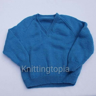 Hand knitted classic v neck jumper - blue sweater - 26 inch chest - knitted