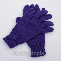 Hand knitted children's gloves in purple - winter gloves - full fingered gloves