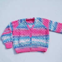 Girls sparkly pink and blue cardigan to fit 32 inch chest - hand knitted girls