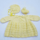 Hand knitted baby cardigan bonnet and booties to fit 12 - 18 months - lemon
