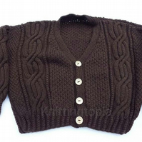 Hand knitted brown cardigan - 34 inch chest - children's clothes - boys clothing