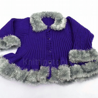 Girls purple cardigan - fluffy silver trim - 30 inch chest - hand knitted girls