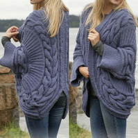 Hand knitted ladies chunky knit cable cardigan jacket - ladies knitwear