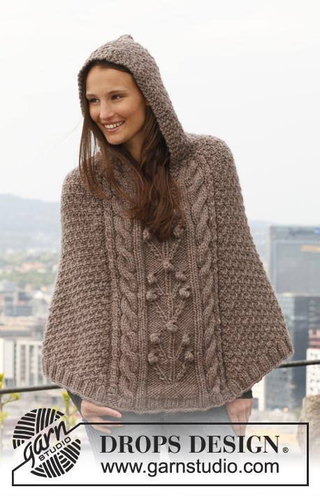 Hand knitted ladies hooded poncho - chunky knit - knitted ladies clothes
