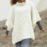 Hand knitted ladies poncho - Aran knits - chunky knit - knitted ladies clothes