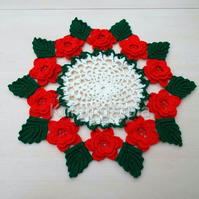Hand crocheted vintage 1940's style doily - red roses - green leaves - table