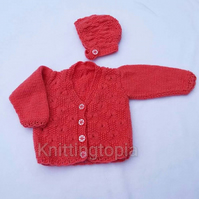 Hand knitted baby cardigan to fit 18 inch chest and matching bonnet - salmon