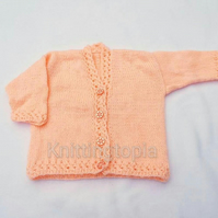 Hand knitted peach baby cardigan 6 - 12 months - Handmade baby clothes - baby