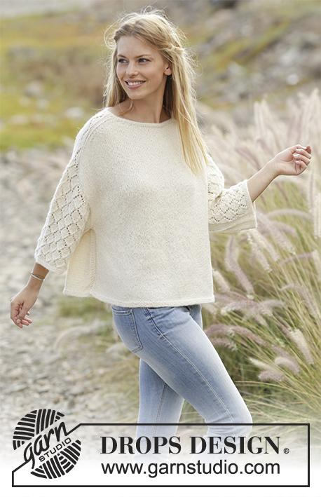 Hand knitted ladies jumper sweater with short length lacy knit sleeves - knit