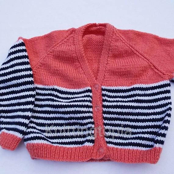Hand knitted cardigan - v neck - stripes - salmon white and navy blue - 22 inch