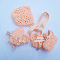 Hand knitted baby bonnet booties and mittens set 0 - 12 months peach - knitted