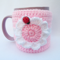 Hand crocheted mug cosy - pink flower with ladybug - mother's day gift