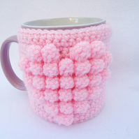 Hand crocheted mug cosy - pink heart - valentine's day gift - mother's day gift