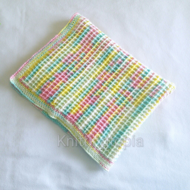 Hand crochet baby pram blanket waffle stitch spring summer pastel colours