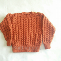 Hand knitted classic round neck jumper fox brown cable pattern 26 inch