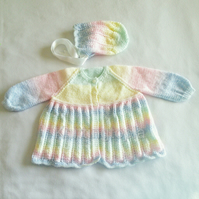 Hand knitted baby cardigan and bonnet - 12 months - pastel stripes