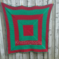 Hand crocheted waffle stitch blanket burgundy red and emerald green sofa throw