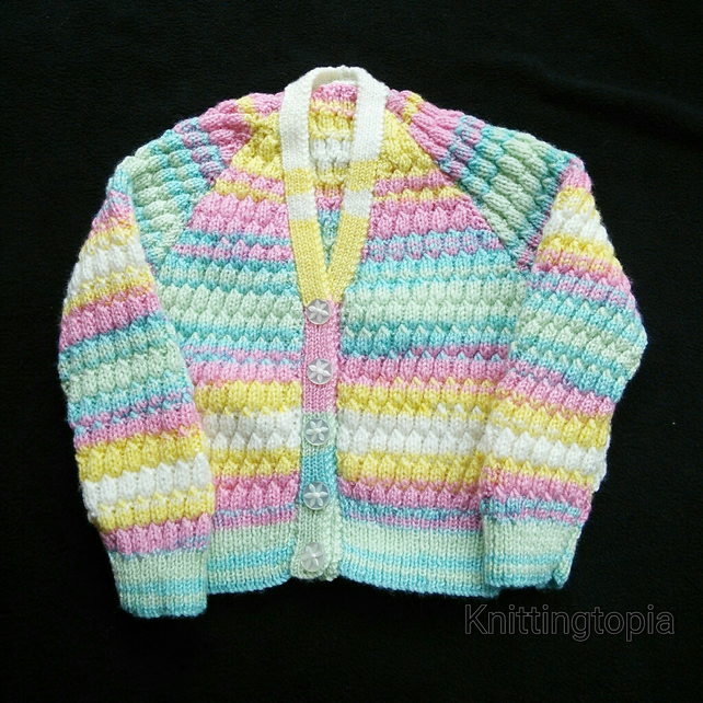 44f13876d Hand knitted baby cardigan in multicoloured yar... - Folksy