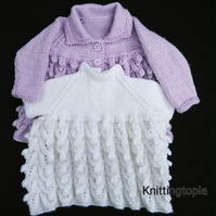 Hand knitted baby sparlky lilac cardigan and sparkly white dress 0 - 3 months