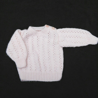 Hand knitted pale pink jumper sweater to fit 18 inch chest